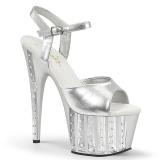 sølv 18 cm ADORE-709VLRS high heels platå med strassteiner
