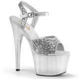 sølv 18 cm ADORE-710GT glitter platå høye hæler dame