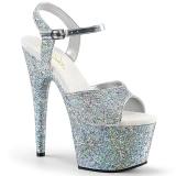 sølv 18 cm ADORE-710LG glitter platå høye hæler dame