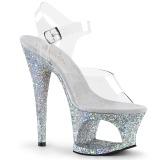 sølv 18 cm MOON-708LG glitter platå høye hæler dame