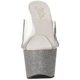 sølv 18 cm Pleaser ADORE-701SDG glitter platå høye mules