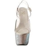 sølv 18 cm Pleaser BEJEWELED-708DM strass platå høye hæler