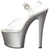 sølv 18 cm Pleaser SKY-308MG glitter sko med høye hæler