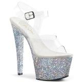 sølv 18 cm SKY-308LG glitter platå høye hæler dame