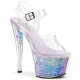 sølv 18 cm SKY-308MC hologram platå høye hæler dame