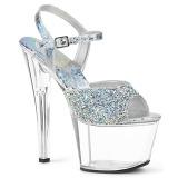 sølv 18 cm SKY-309RS high heels platå med strassteiner