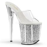 sølv 20 cm FLAMINGO-801G glitter platå slip ins dame med hæler