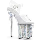 sølv 20 cm FLAMINGO-808GF glitter platå høye hæler dame