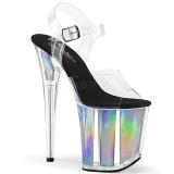 sølv 20 cm FLAMINGO-808HGI hologram platå høye hæler dame