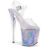 sølv 20 cm FLAMINGO-808MC hologram platå høye hæler dame