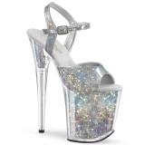 sølv 20 cm FLAMINGO-809HS hologram platå høye hæler dame
