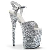 sølv 20 cm FLAMINGO-810LG glitter platå høye hæler dame