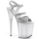 sølv 20 cm FLAMINGO-874 glitter platå sandaler dame