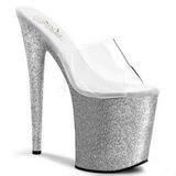 sølv 20 cm Pleaser FLAMINGO-801SDG glitter platå høye mules