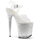 sølv 20 cm STARDUST-808T platå høyhælte sandaler sko