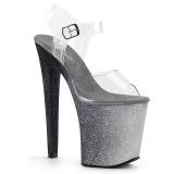 sølv 20 cm XTREME-808OMBRE glitter platå høye hæler dame