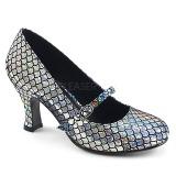 sølv 7,5 cm MERMAID-70 pinup pumps sko med lave hæler