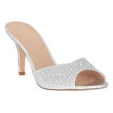 sølv 8,5 cm LUCY-01 glitter flate slip ins dame med hæler