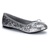 sølv STAR-16G glitter ballerinasko dame med flate hæl
