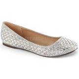 sølv TREAT-06 krystall stein ballerinasko dame med flate hæl