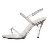 sølv gjennomsiktig 10 cm Pleaser CARESS-439 høye hæler sko