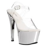 sølv gjennomsiktig 18 cm SKY-308 platå høye hæler sko