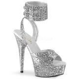 sølv glinser 15 cm DELIGHT-691LG pleaser høye hæler med ankel stropper