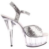 sølv glinser 15 cm Pleaser DELIGHT-609 høye hæler damer sko