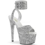 sølv glinser 18 cm ADORE-791LG pleaser høye hæler med ankel stropper