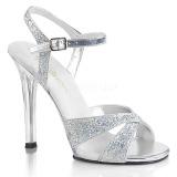 sølv glitter 11,5 cm Fabulicious GALA-19 dame sandaler med hæl