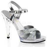 sølv glitter 12 cm FLAIR-419G dame sandaletter lavere hæl