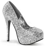 sølv glitter 14,5 cm BORDELLO TEEZE-06G platå pumps høy hæl