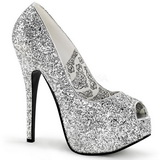 sølv glitter 14,5 cm BORDELLO TEEZE-22G platå pumps høy hæl