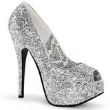 sølv glitter 14,5 cm Burlesque BORDELLO TEEZE-22G platå pumps høy hæl