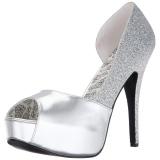 sølv glitter 14,5 cm Burlesque TEEZE-41W pumps for brede føtter til menn
