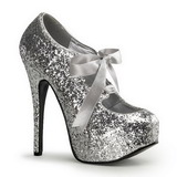 sølv glitter 14,5 cm TEEZE-10G platform pumps sko