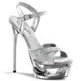 sølv glitter 16,5 cm Pleaser ECLIPSE-619G høye stiletthæler platå