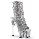 sølv glitter 18 cm ADORE-1018G ankelstøvletter med platåsåle til dame