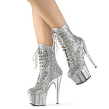 sølv glitter 18 cm ADORE-1020G ankelstøvletter med platåsåle til dame