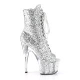 sølv glitter 18 cm ADORE-1021G ankelstøvletter med platåsåle til dame