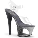 sølv glitter 18 cm Pleaser MOON-708OMBRE pole dancing sko