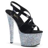 sølv glitter 18 cm Pleaser SKY-330LG pole dancing sko