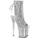 sølv glitter 20 cm Pleaser FLAMINGO-1018G pole dancing ankelstøvletter