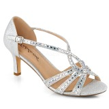 sølv glitter 6,5 cm Fabulicious MISSY-03 dame sandaler med hæl