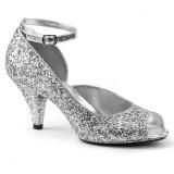 sølv glitter 7,5 cm BELLE-381G dame pumps sko med åpen tå