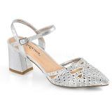 sølv glitter 7 cm Fabulicious FAYE-06 dame sandaler med hæl