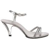 sølv glitter 8 cm BELLE-316 dame sandaletter lavere hæl