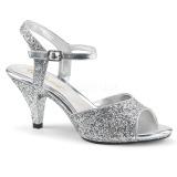 sølv glitter 8 cm Fabulicious BELLE-309G dame sandaler med hæl