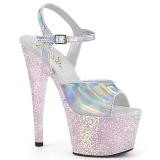 sølv glitter platå 18 cm ADORE-709HGG pleaser høye hæler for kvinner