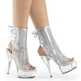 sølv grid 16 cm Pleaser DELIGHT-1018MSH platå ankel høye støvler